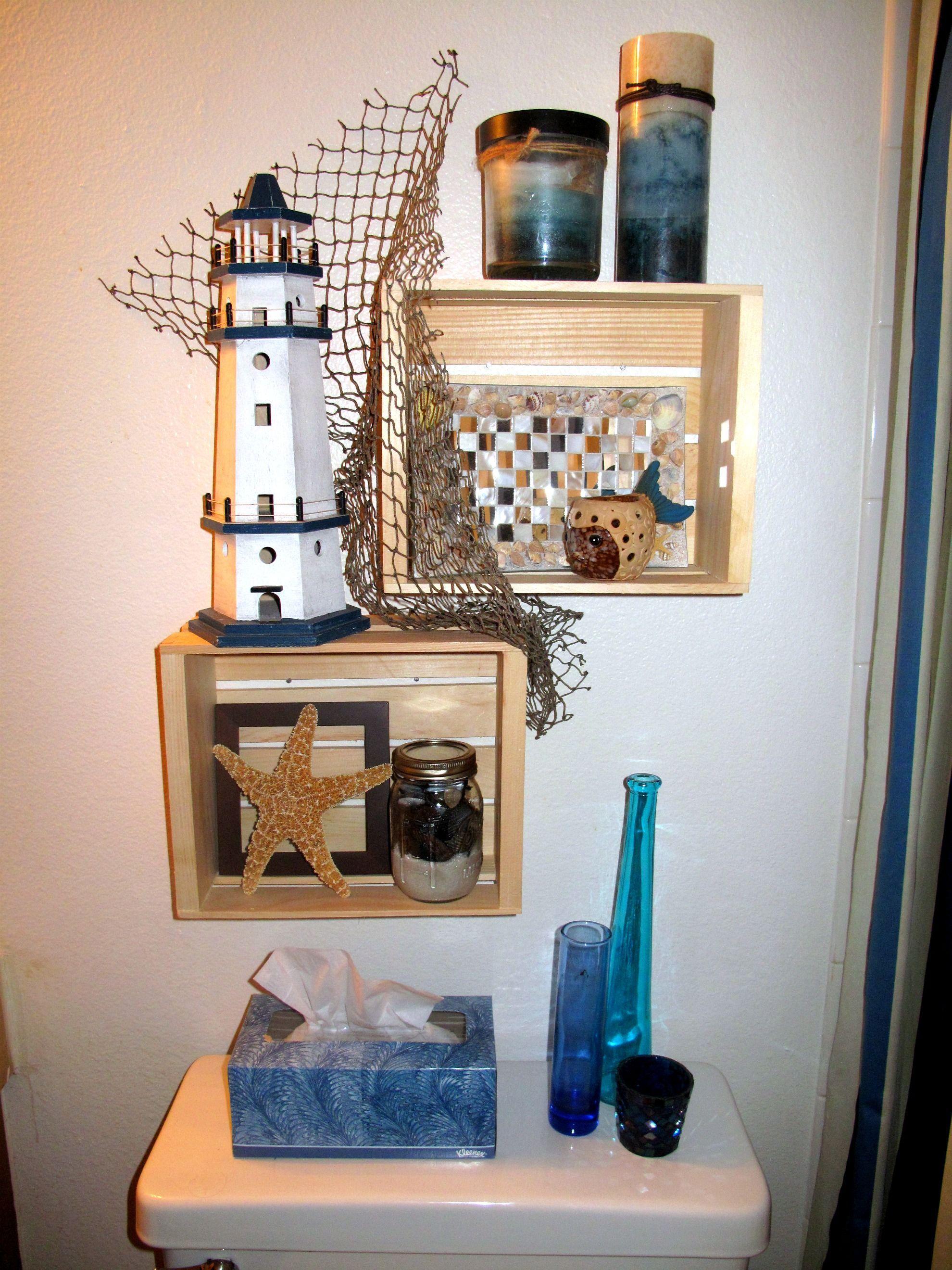 beach themed shelves i just finished in my bathroom beach decor rh pinterest com Beach Themed House Beach Themed Lighting