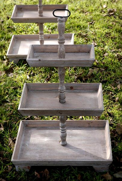 3 Tier Rustic Wood Stand Set Of 2 Rustic Wood Wood Pedestal Tray Decor