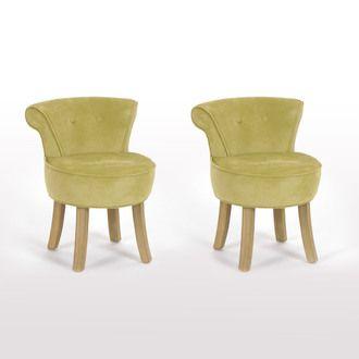 Petit Fauteuil Crapaud Rev Tement Coton Avec Pieds Bois Lot De - Petit fauteuil en bois