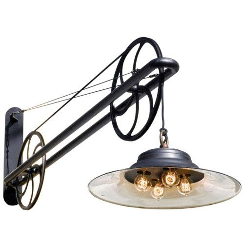 Large pulley industrial swing arm lamp - $3400.