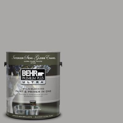 Behr Ultra 1 Gal Ul260 7 Cathedral Gray Semi Gloss Enamel Interior Paint And Primer In One 375401 Interior Paint Exterior Paint Behr