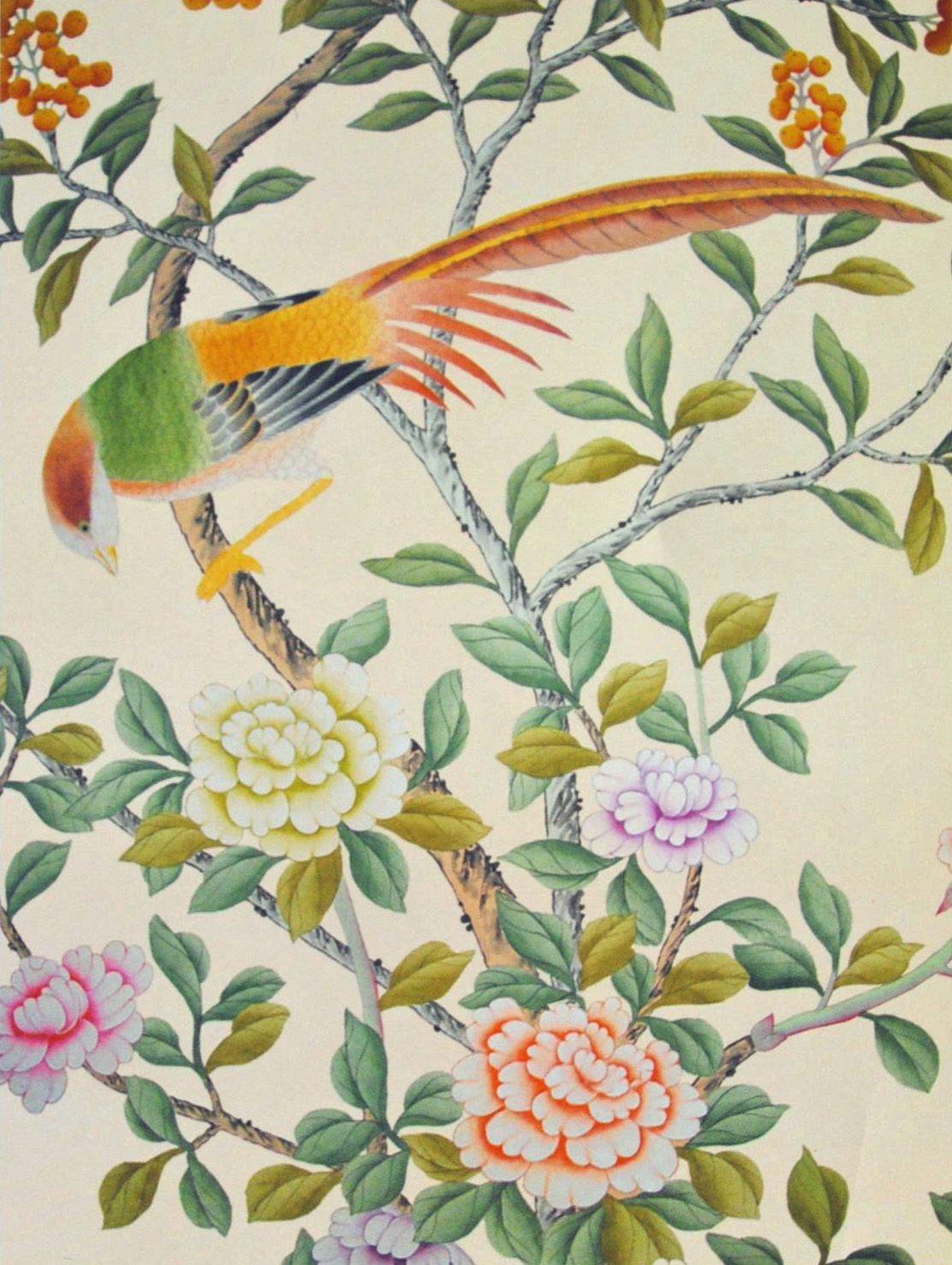 Chinoiserie wallpaper 'Earlham' design in full custom