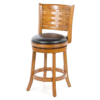 "Alcott Hill Westerville 24"" Swivel Bar Stool with Cushion Finish: Brush Oak"
