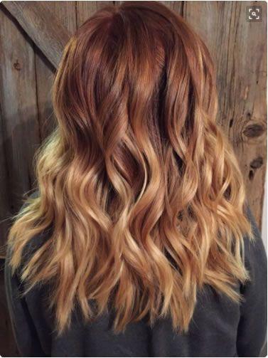 Sunset blonde con un delicato melange di rosso ramato intenso e biondo miele.  Pinterest @