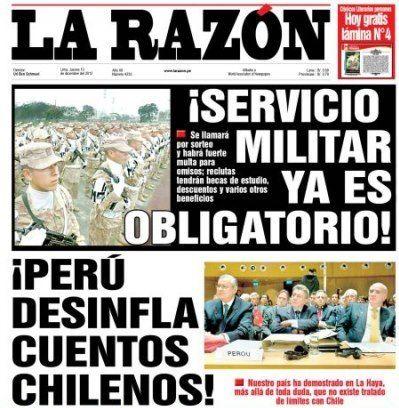 Ad portas del último alegato de Chile ante La Haya - 13.12.12 (La Razón - Perú - 13.12.12). #LaHaya #Peru #Chile.