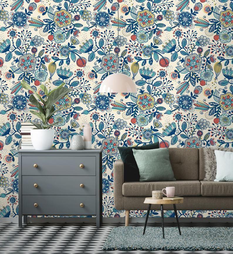 Vintage Floral Art Removable Wallpaper Vintage flowers