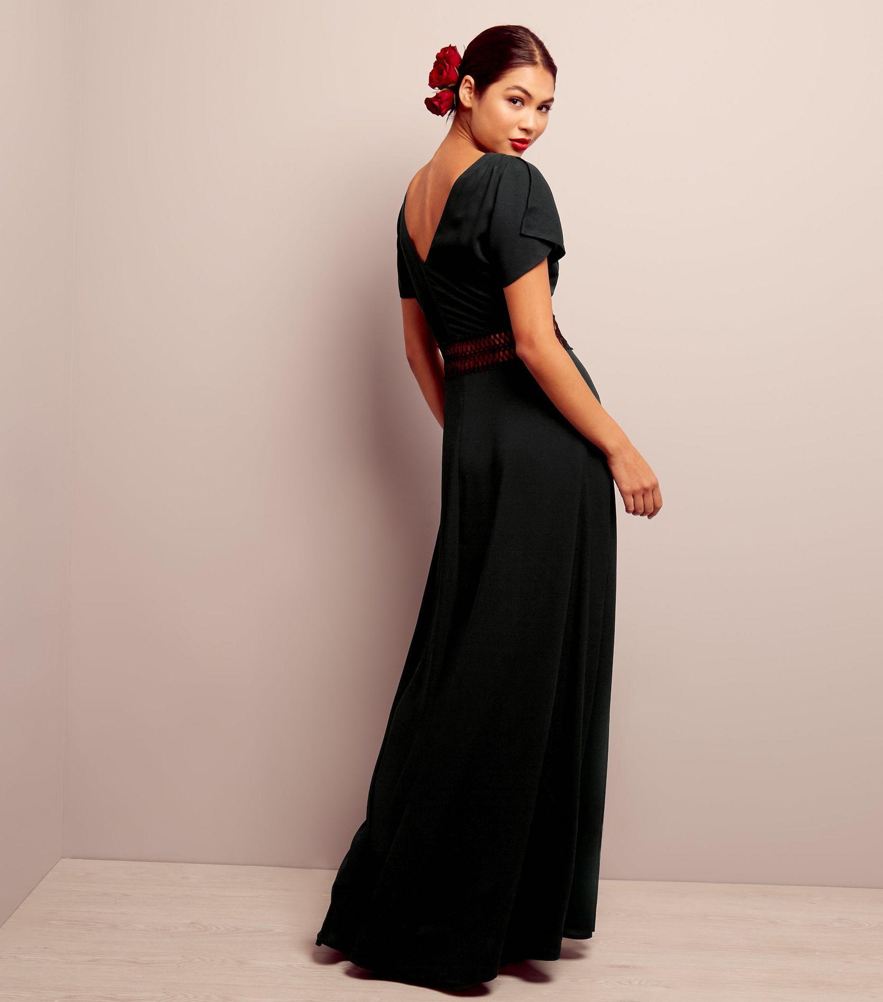 Black crochet waist maxi bridesmaid dress shops dress black and maxis