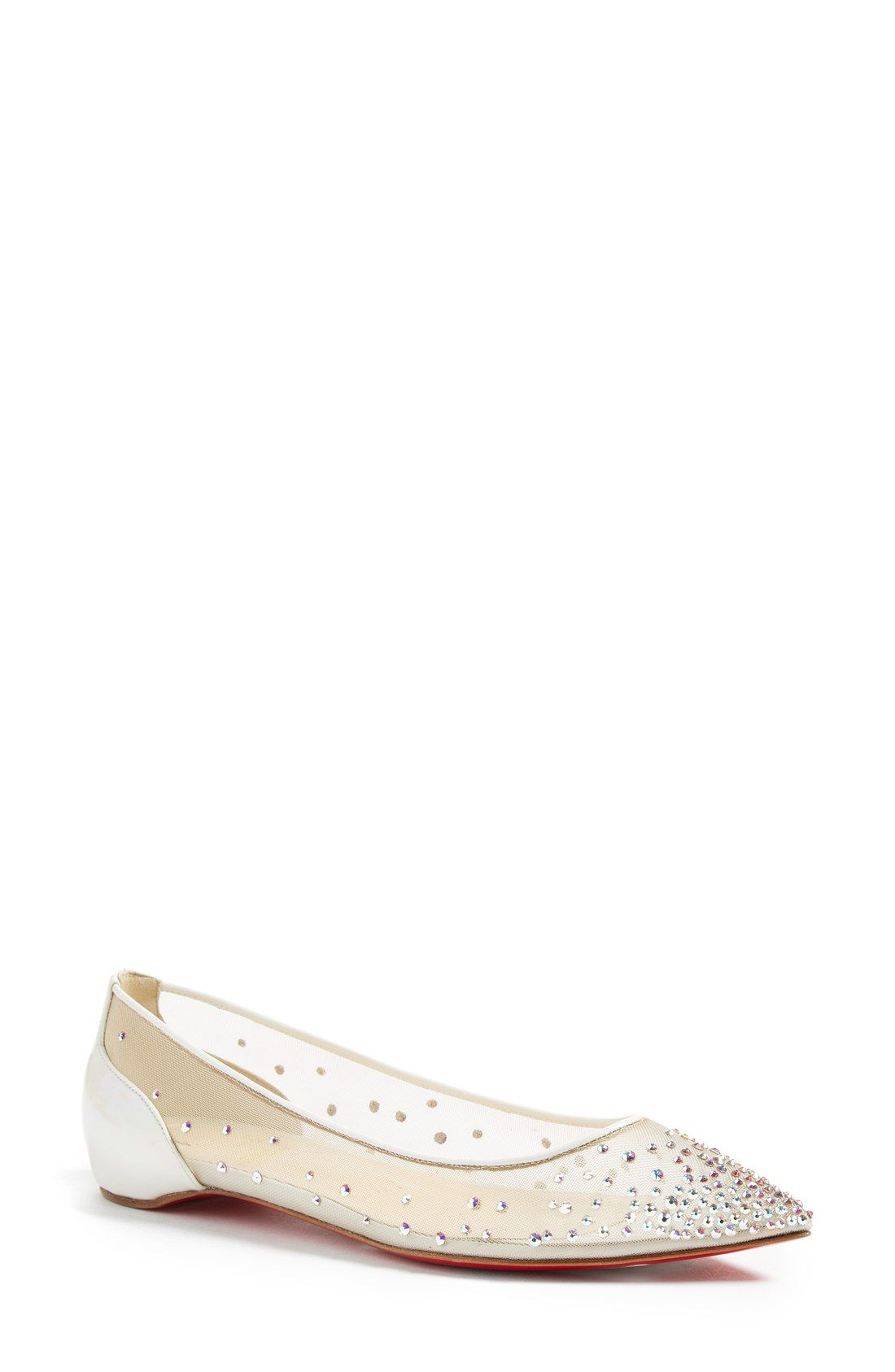 ede8316920d4 Christian Louboutin Follies Strass Pointy Toe Flat