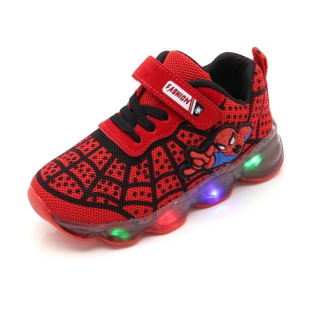NEW LED Luminous Spiderman Kids Shoes Boys Girls Sport Light Glowing 2019