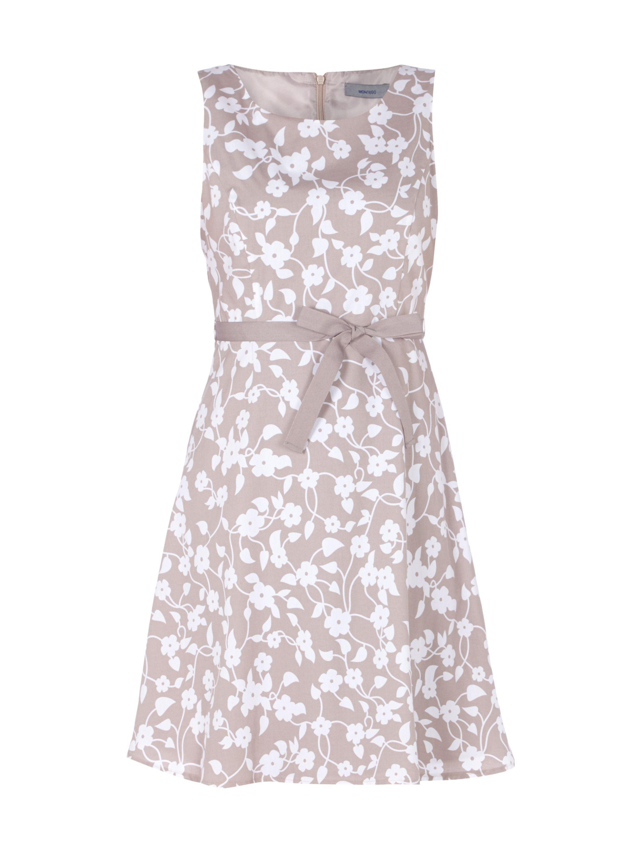 montego kleid aus reiner baumwolle mit taillengürtel in weiß
