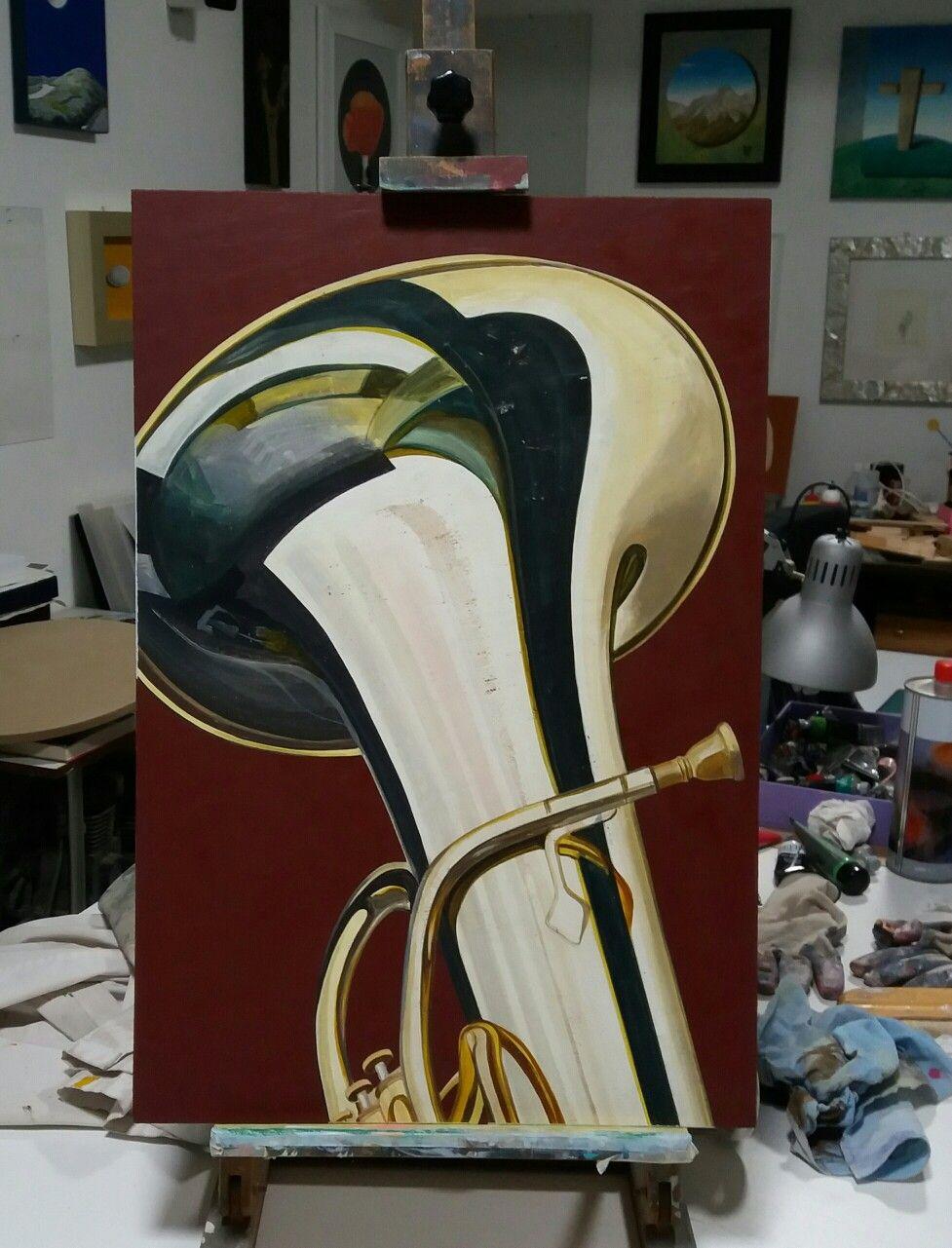 "Borzani ""basso tuba"" / cm.40 x 59 / olio su tavola"