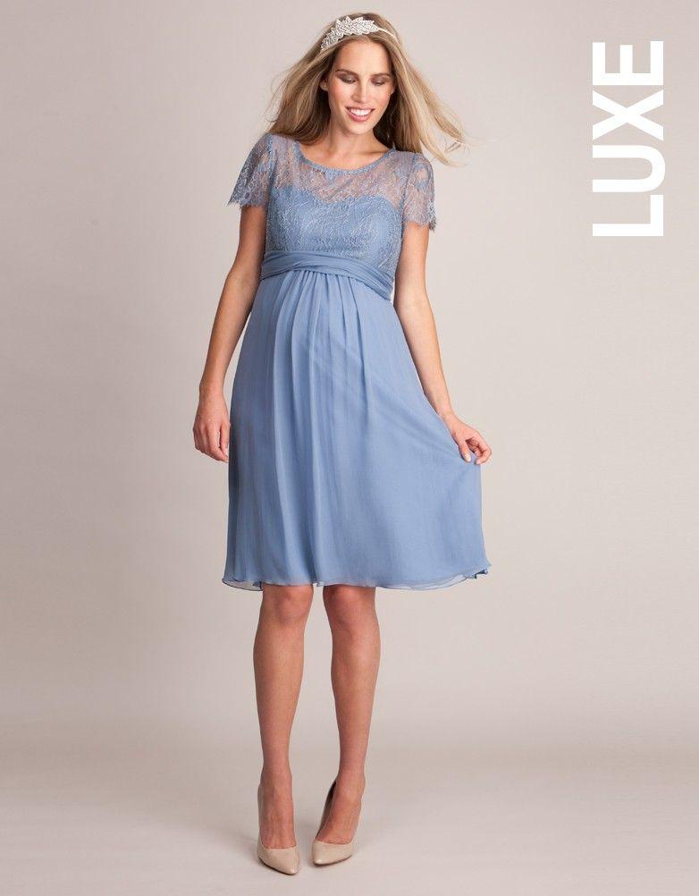 5ab28fe1e3a Cornflower Silk   Lace Maternity Dress