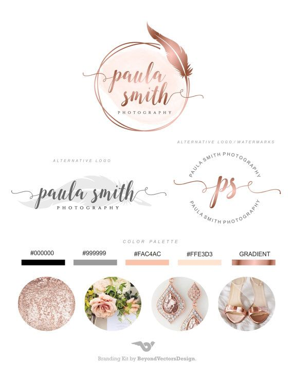Branding Kit Branding Package Premade Logo Rose by BVLogoDesign