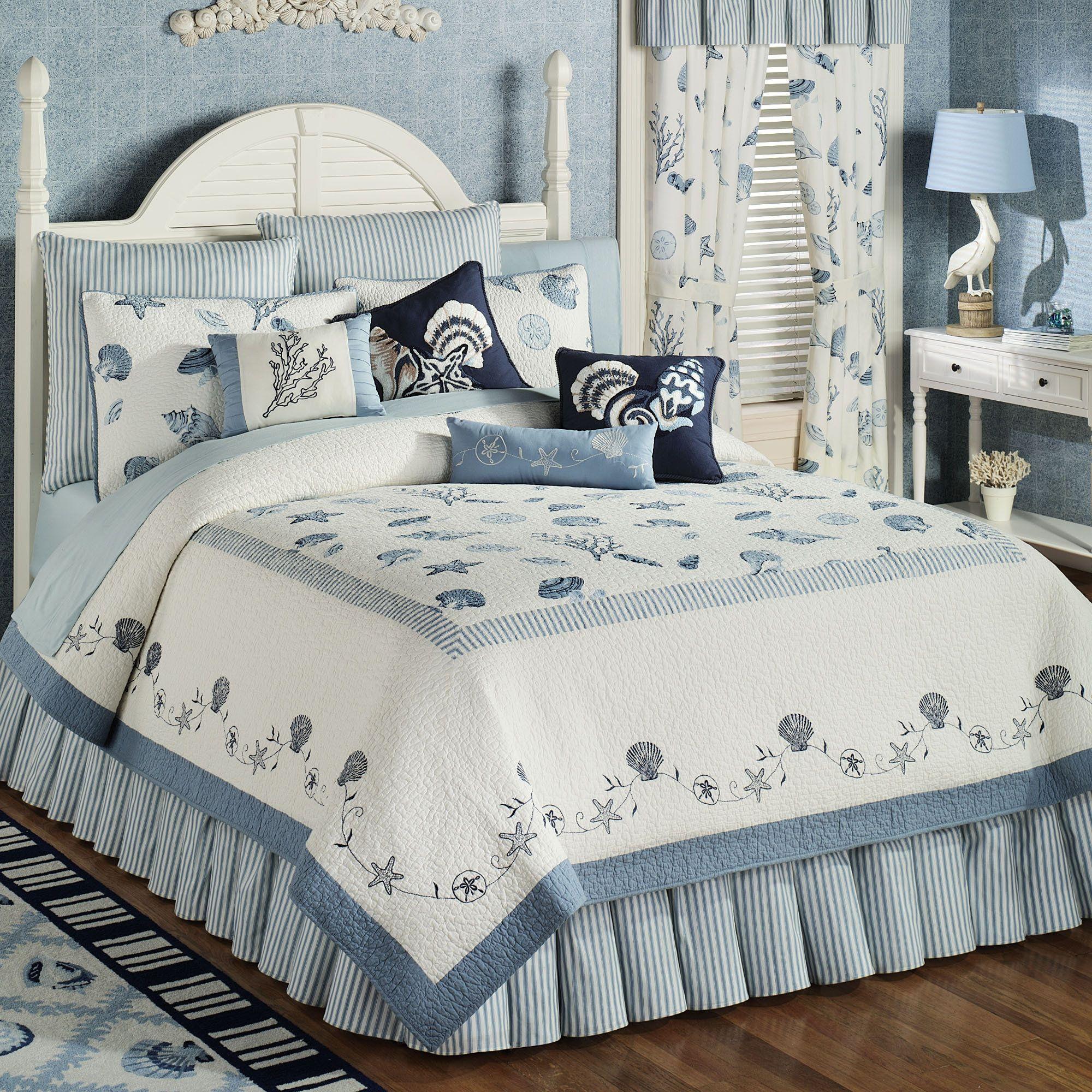 Treasures By Sea Blue Quilt Bedding Parure Drap Parure