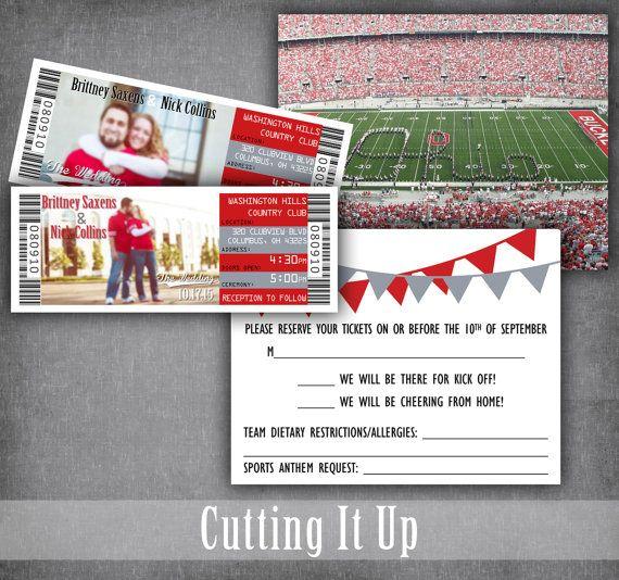 The Ohio State Football Wedding Ticket Invitations Sport Theme