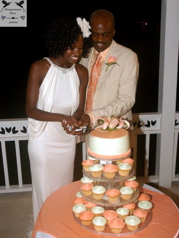 Pastel Peach And Green Wedding Cupcakes At Award Winning Jamaica Destination Wedding Venue Hummingb Destination Wedding Jamaica Pastel Wedding Wedding Cupcakes
