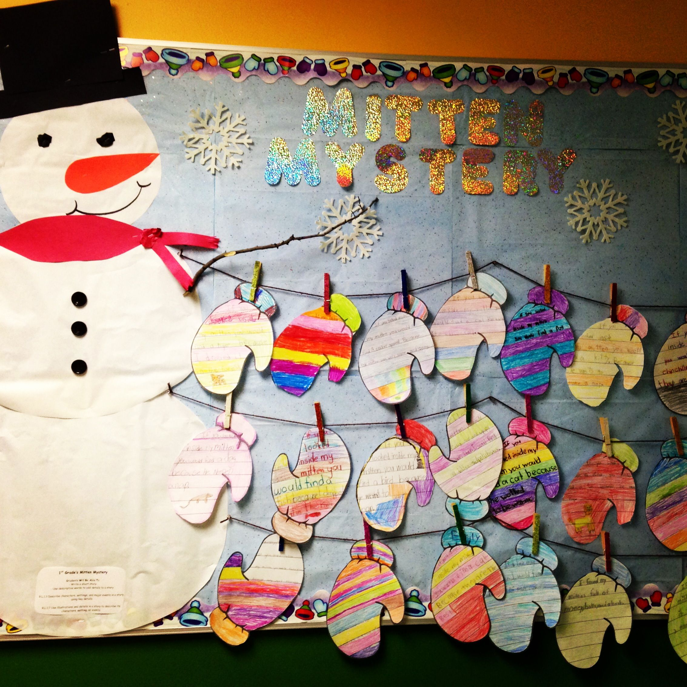 "Winter bulletin board. Goes with the book ""The Mitten"" by ..."