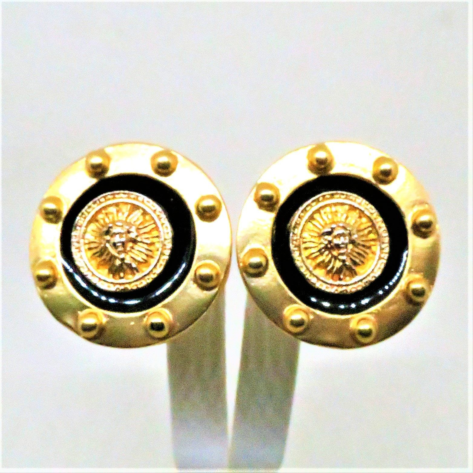 a92b0016e0973 Shield Earrings - Vintage, Gold Tone, Studded, Black Enamel, Clip on ...