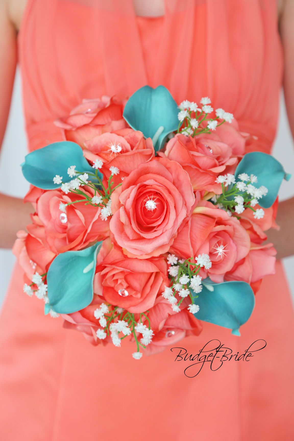 Coral Reef and Teal wedding flowers with bling and babies breath ...