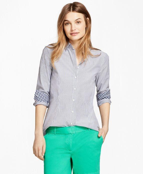 83a0297e92cc3 Striped Stretch Cotton Poplin Shirt