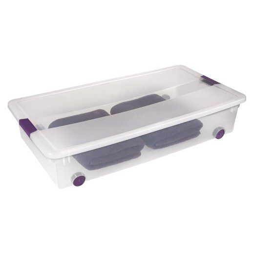 Sterilite Under Bed Storage Glamorous Sterilite® Clearview Latch Underbed Storage Bin Clear With Purple 2018