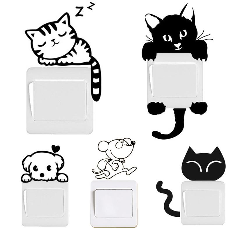 Creative Cute New Cat Wall Stickers Light Switch Decor Decals Art