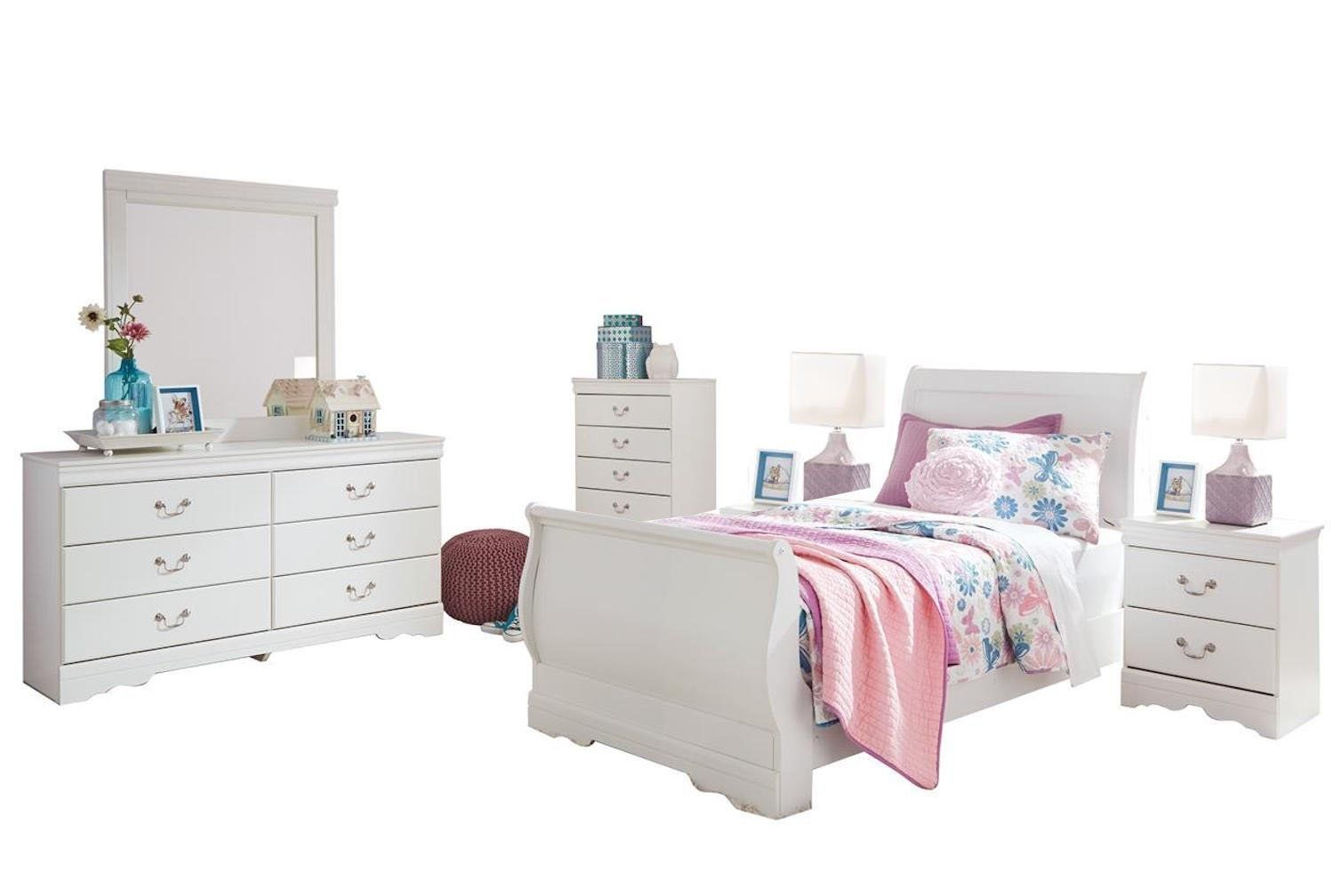 Best Ashley Anarasia 6Pc Twin Sleigh Bedroom Set With 2 Nightstand Furnitures Bedroom Furniture 400 x 300