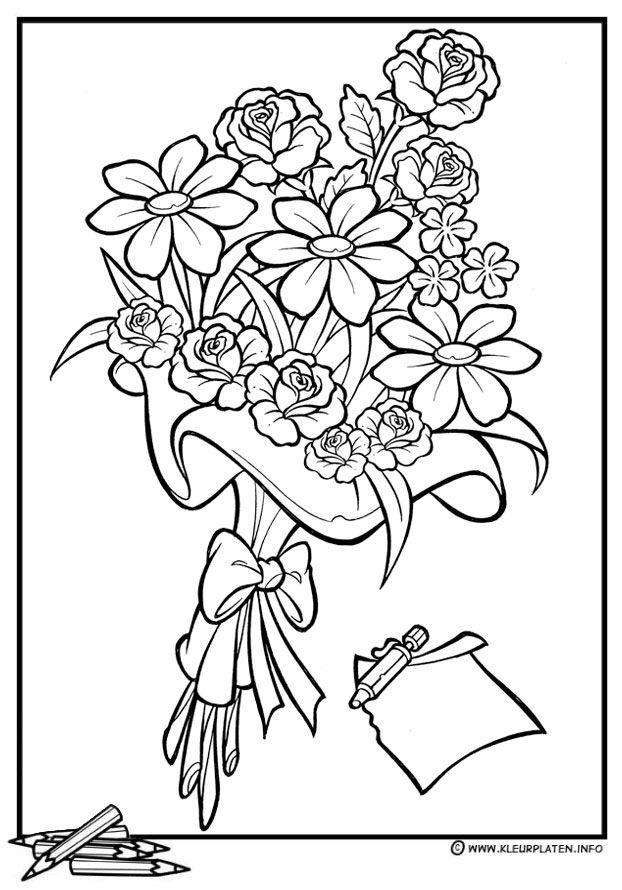 Kleurplaten Bosje Bloemen.Een Verjaardags Boeket Bloemen Pinterest Coloring Pages