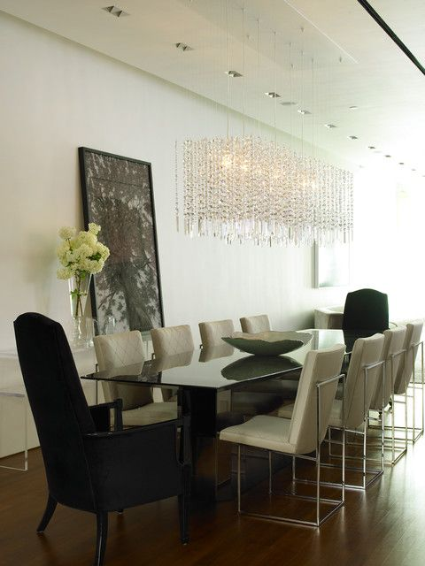 Beautiful Residence Dining Room Involving Custom Chair Idea For Gl Table Under Crystal Rain Drop Chandelier