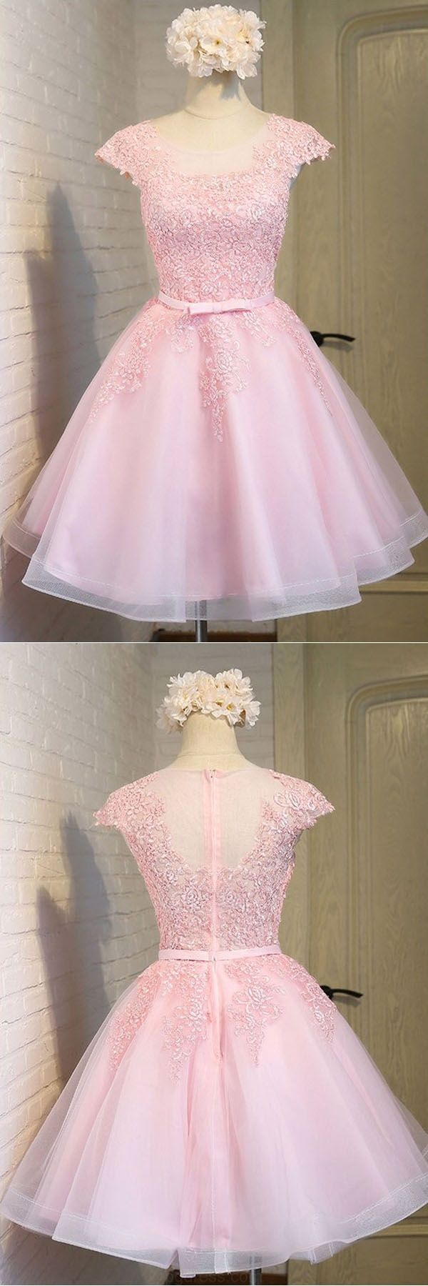 Hot Sale Beautiful Prom Dress Wedding Dresses Pink Lace Short Tulle ...