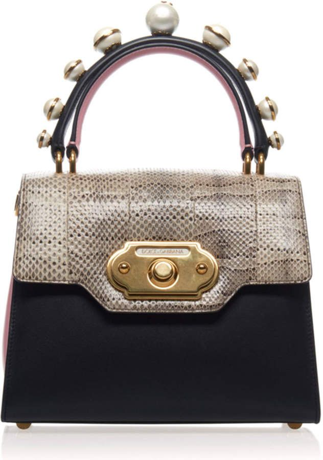 61eb38994 1,977 Dolce & Gabbana Pearl Embellished Leather And Python Bag #bags # handbags #handle #shoulderbag #style #affiliate #shopstyle #dolcegabbana  #mystyle