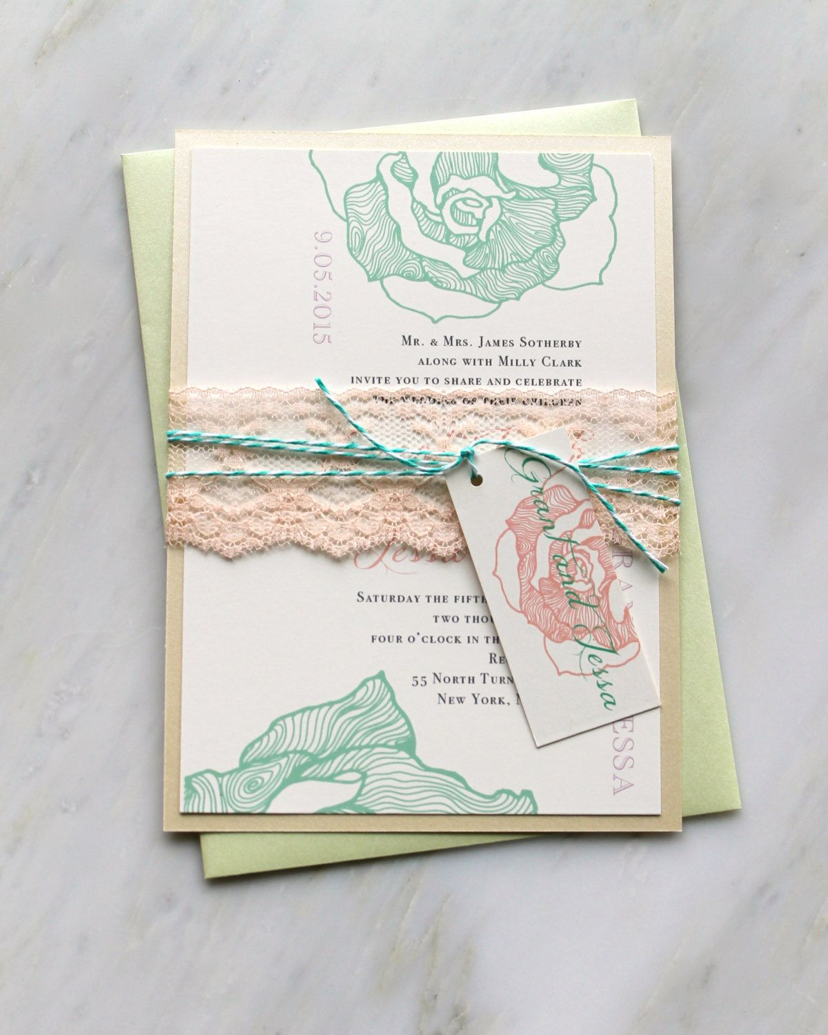 Ruffled Romance Mint - Peach Lace Wedding Invitation, Lilac, Mint ...