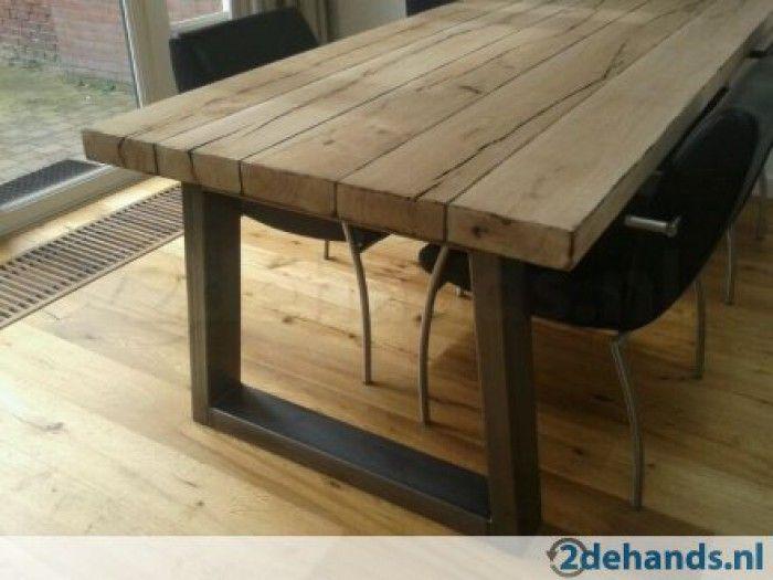Stoere tafel om evt zelf te maken keuken pinterest eettafel houten banken en eetkamer - Eettafel en houten eetkamer ...