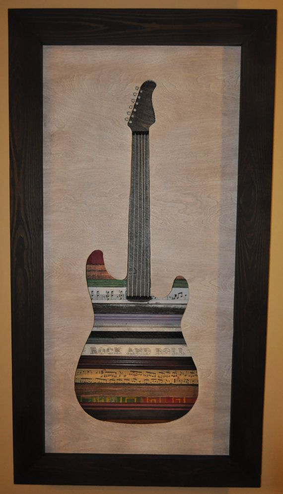 Guitar Electric Guitar Original Reclaimed Wood Art 3D   Block words ...