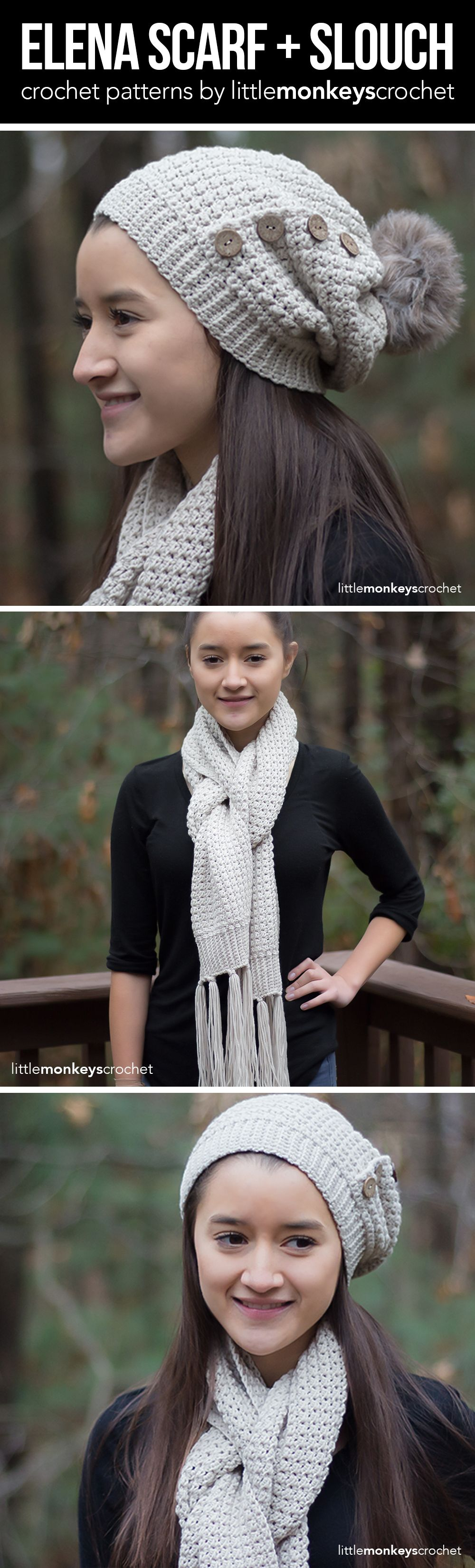 Elena scarf and slouch hat crochet pattern set free classic elena scarf and slouch hat crochet pattern set free classic winter scarf and slouchy beanie bankloansurffo Image collections