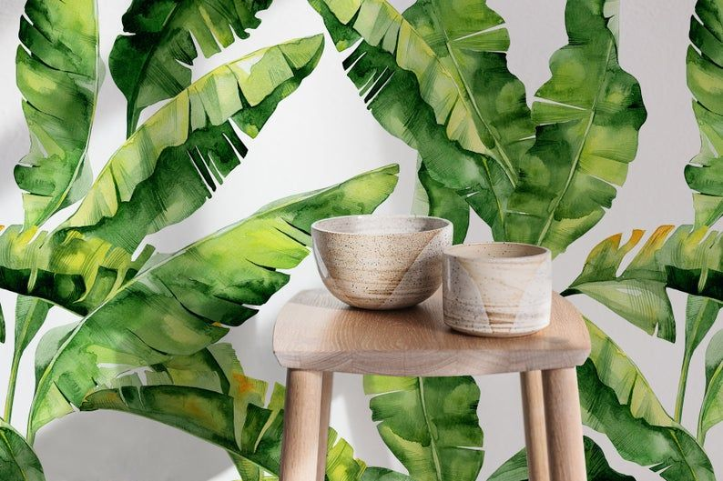 Removable Wallpaper Peel And Stick Wallpaper Wall Paper Wall Etsy In 2021 Banana Leaf Wallpaper Tropical Wallpaper Feature Wall Wallpaper