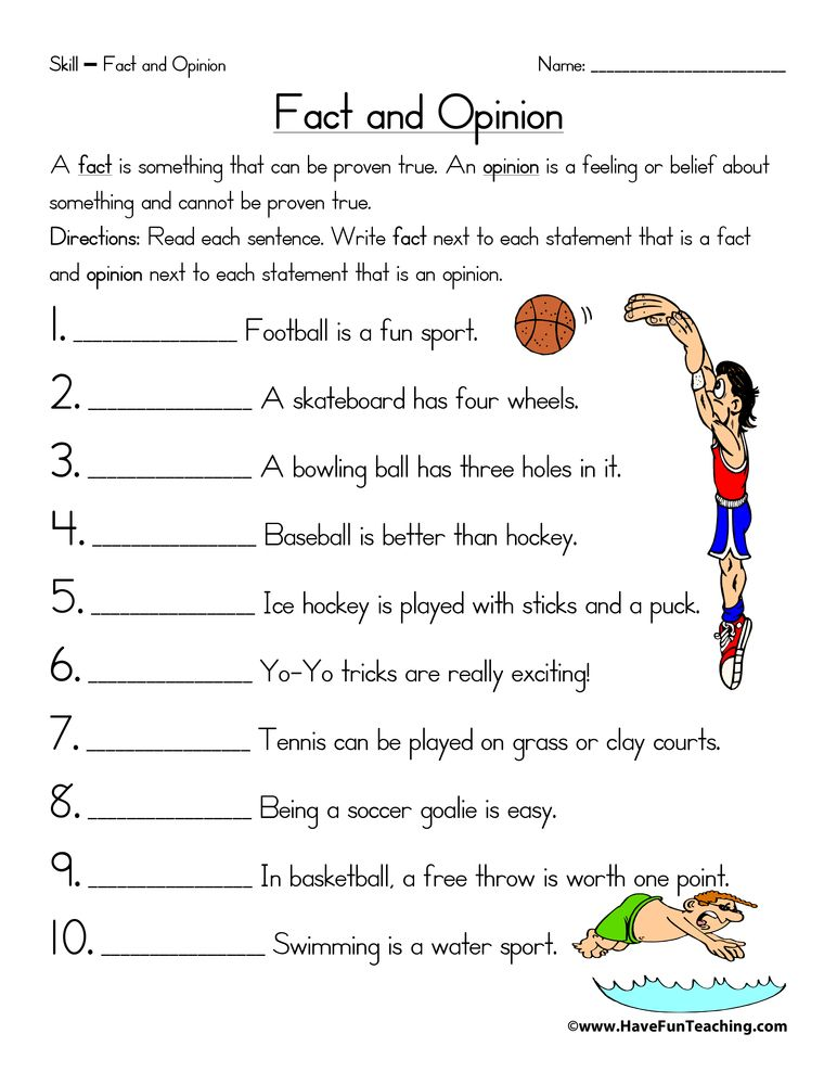 Fact and Opinion Worksheet | Worksheets, Sentences and Phonics