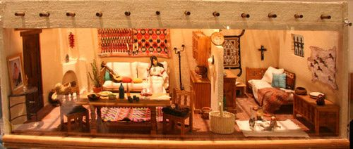 Gallery of Miniature Scale Room Boxes: Full view of the large Santa Fe House by Mary Register exhibited at the 2008 West Coast Dolls House Show.