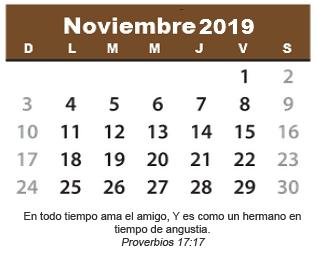 Calendario De Noviembre 2019 Cristiano Calendario Cristiano Imágenes Cristianas
