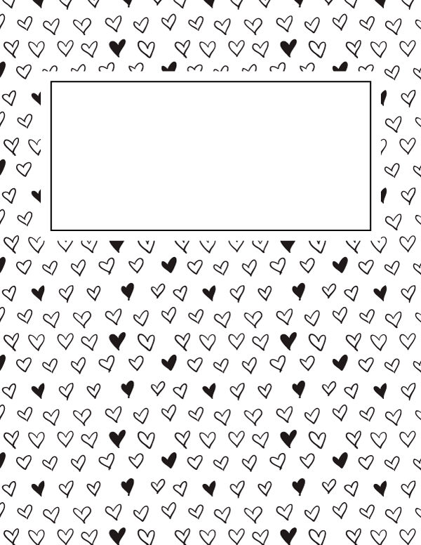 Free printable black and white heart binder cover template for Binder coloring pages