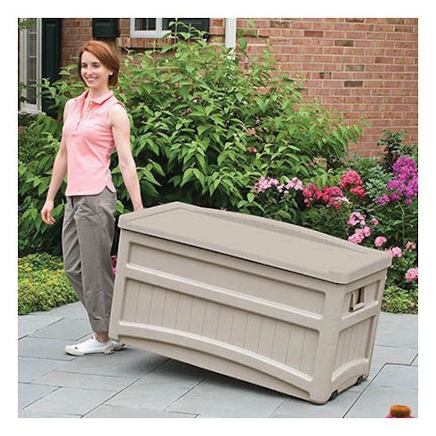 Outdoor Furniture Clearance Rolling Storage Bench Pool Deck Box Extra Seat Patio Patio Storage Deck Box Storage Deck Box