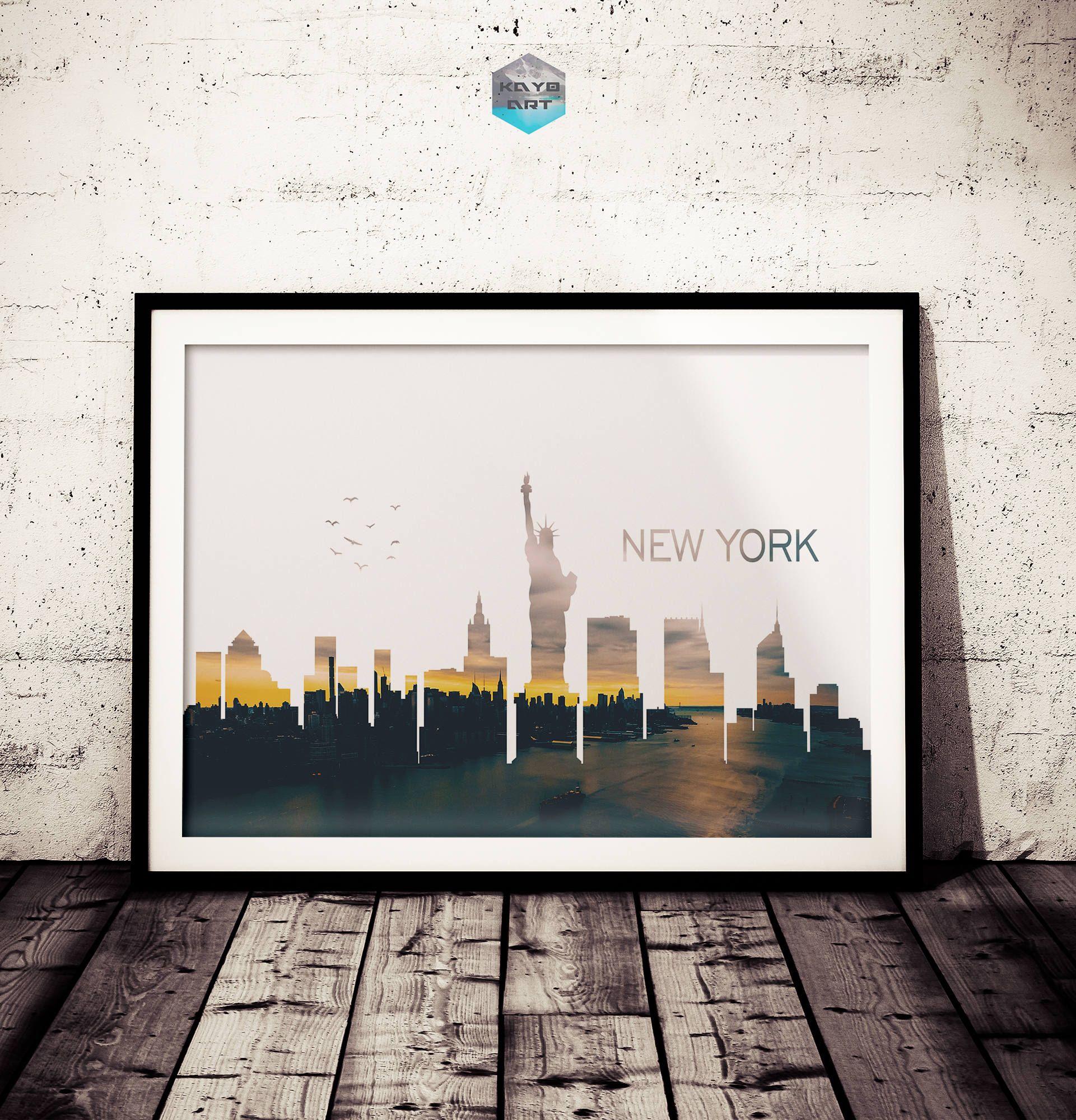 New York City Skyline Art, Double Exposure Print, Big Apple