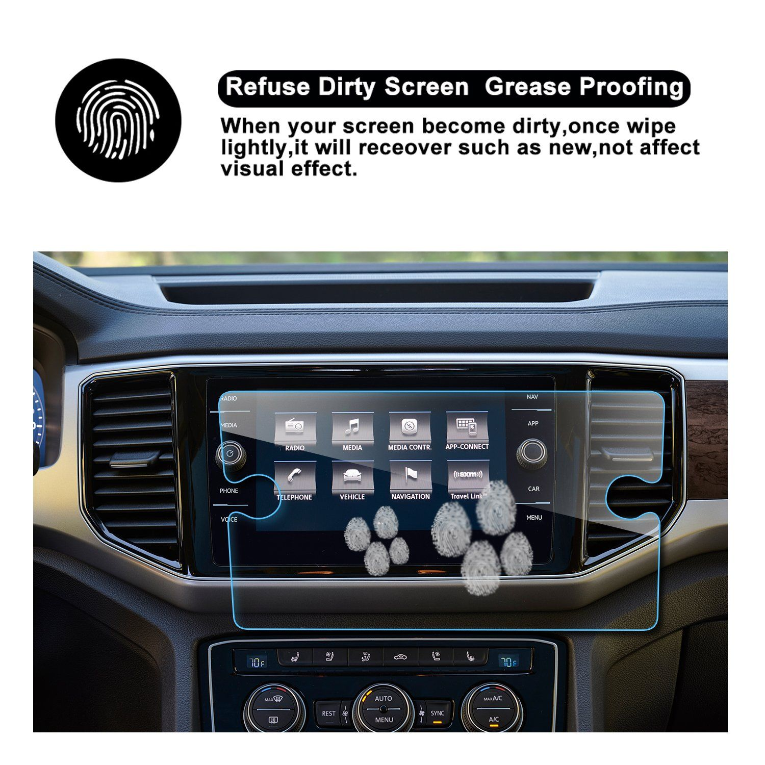 2PCS LFOTPP 8 Inch for 2015-2020 Ford F-150 F250 F350 F450 sync2 sync3 Coupe Hatchback Glass Navigation Screen Protector 9H Tempered Glass Infotainment Center Touch Display Screen Protector