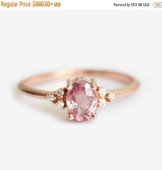 Engagement Ring Sapphire Engagement Ring Peach Sapphire Engagement