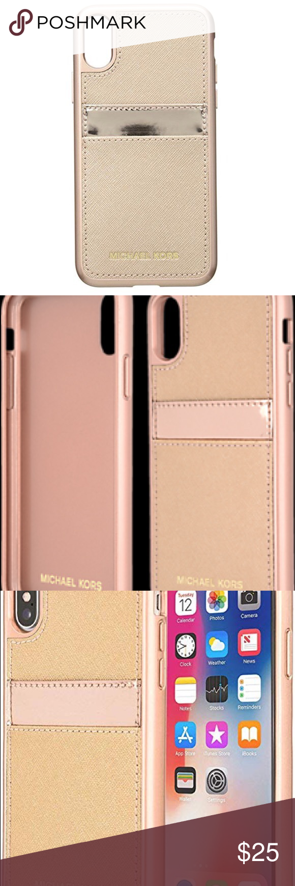 950aa69aff2283 Michael Kors iPhone X Case in Rose Gold Wrap your phone in luxury with this  chic Pocket Case for your iPhone X. - Crafted from genuine Saffiano leather  ...