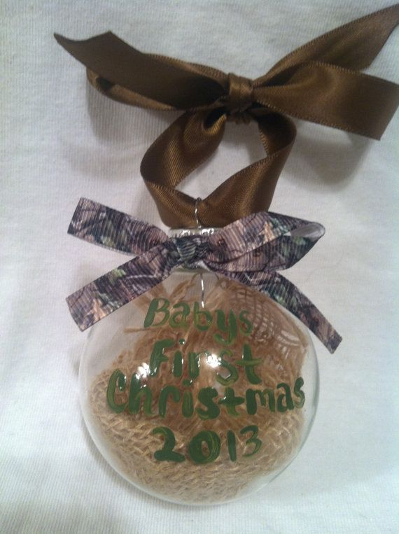 Hand painted Christmas ornament, Hunting ornament, Babys First Christmas 2013