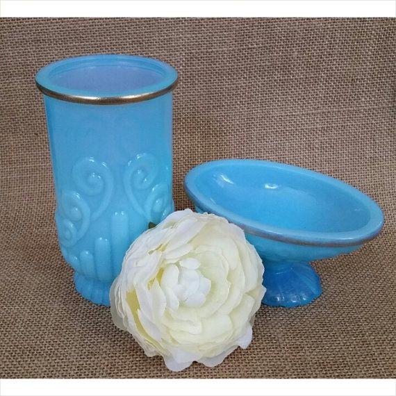 Vintage| Bristol Blue Avon Vanity Set. Vintage bathroom ...