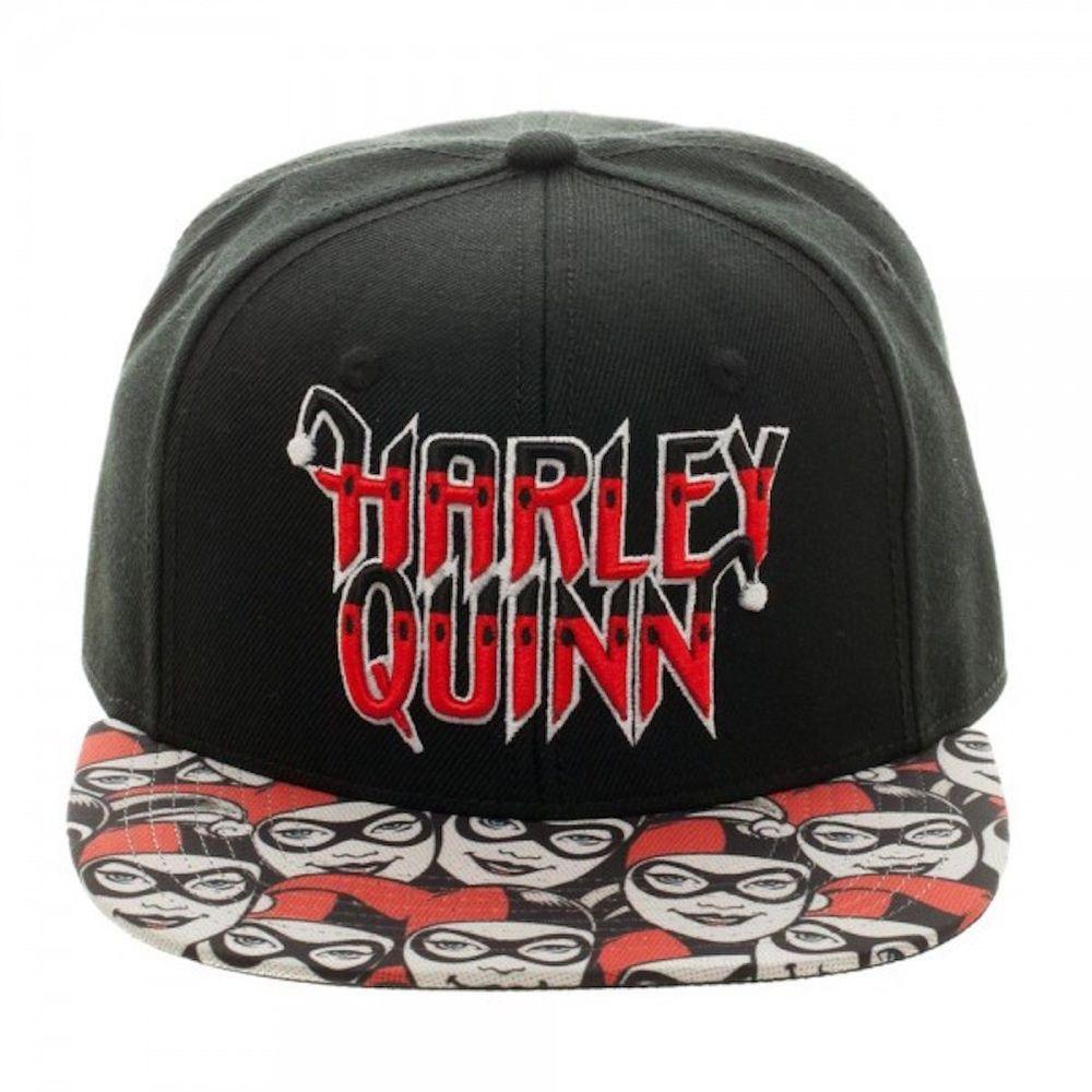29fdb274ca4 Harley Quinn Embossed Logo Snapback Sublimated Flat Brim Baseball Cap Hat  DC  DC  BaseballCap