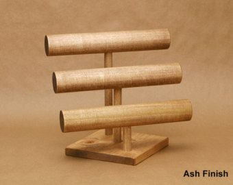 Collapsible 3 Bar Solid Wood Bracelet Jewelry Display By Usaveco