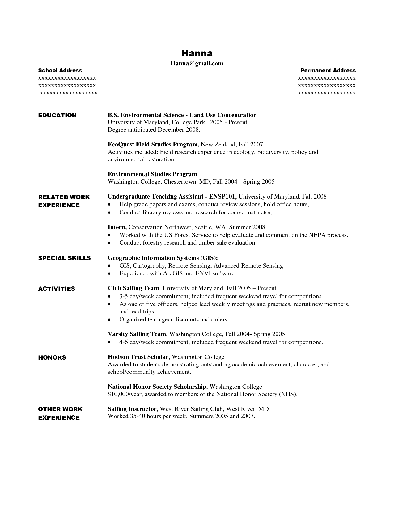 Student Activity Resume Template